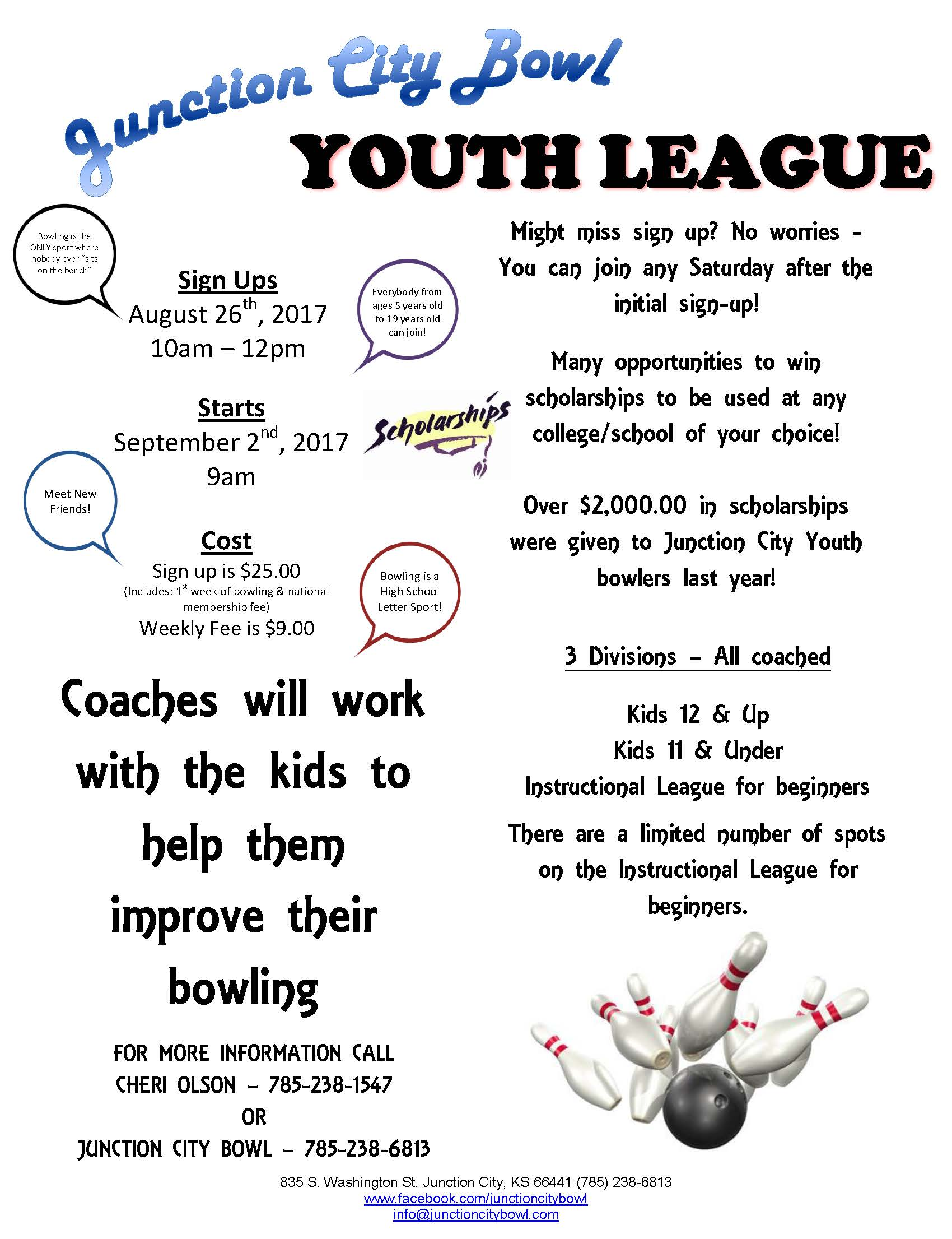 Junction City Bowling Flyer