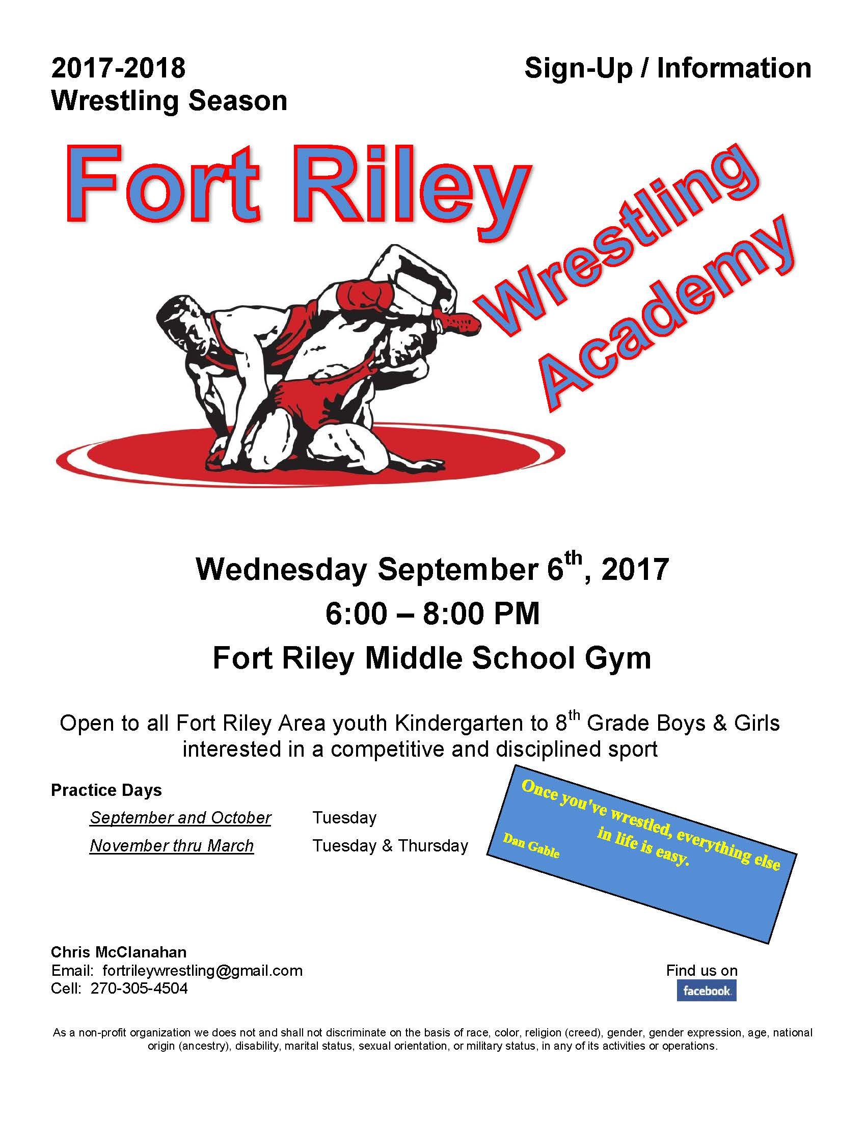Fort Riley Wrestling Flyer