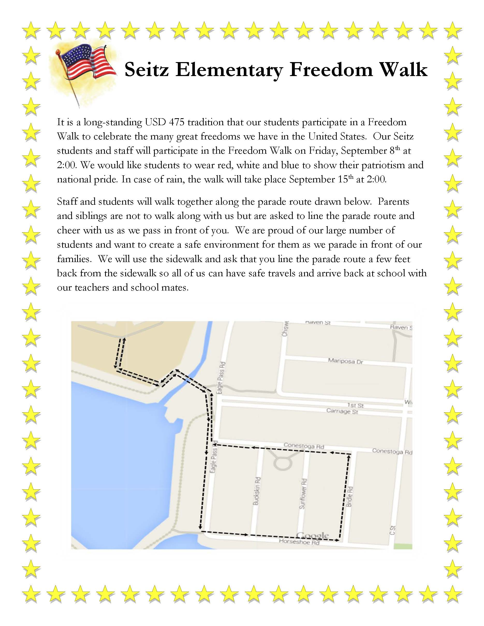 Seitz Elementary Freedom Walk Flyer