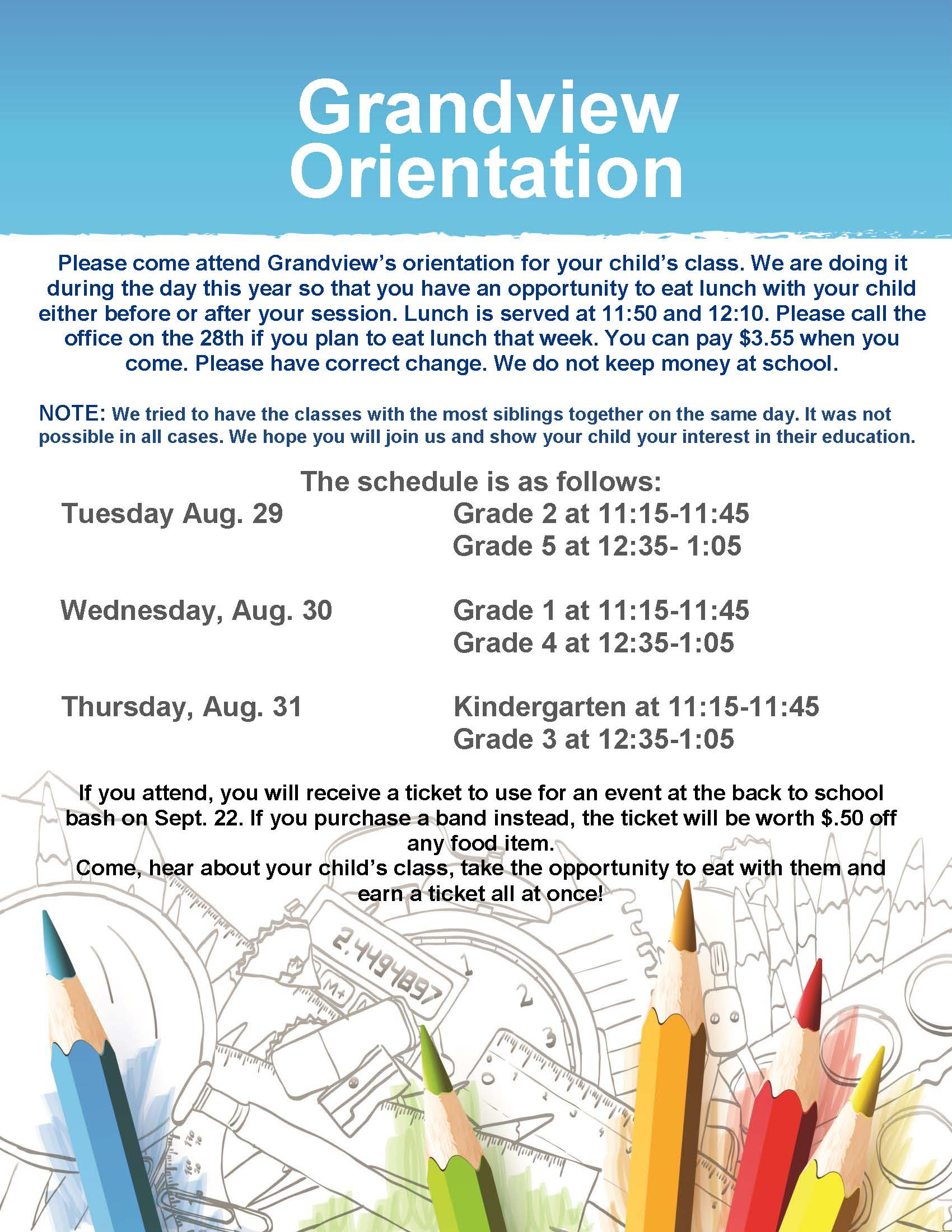 Grandview Parent Orientation Flyer