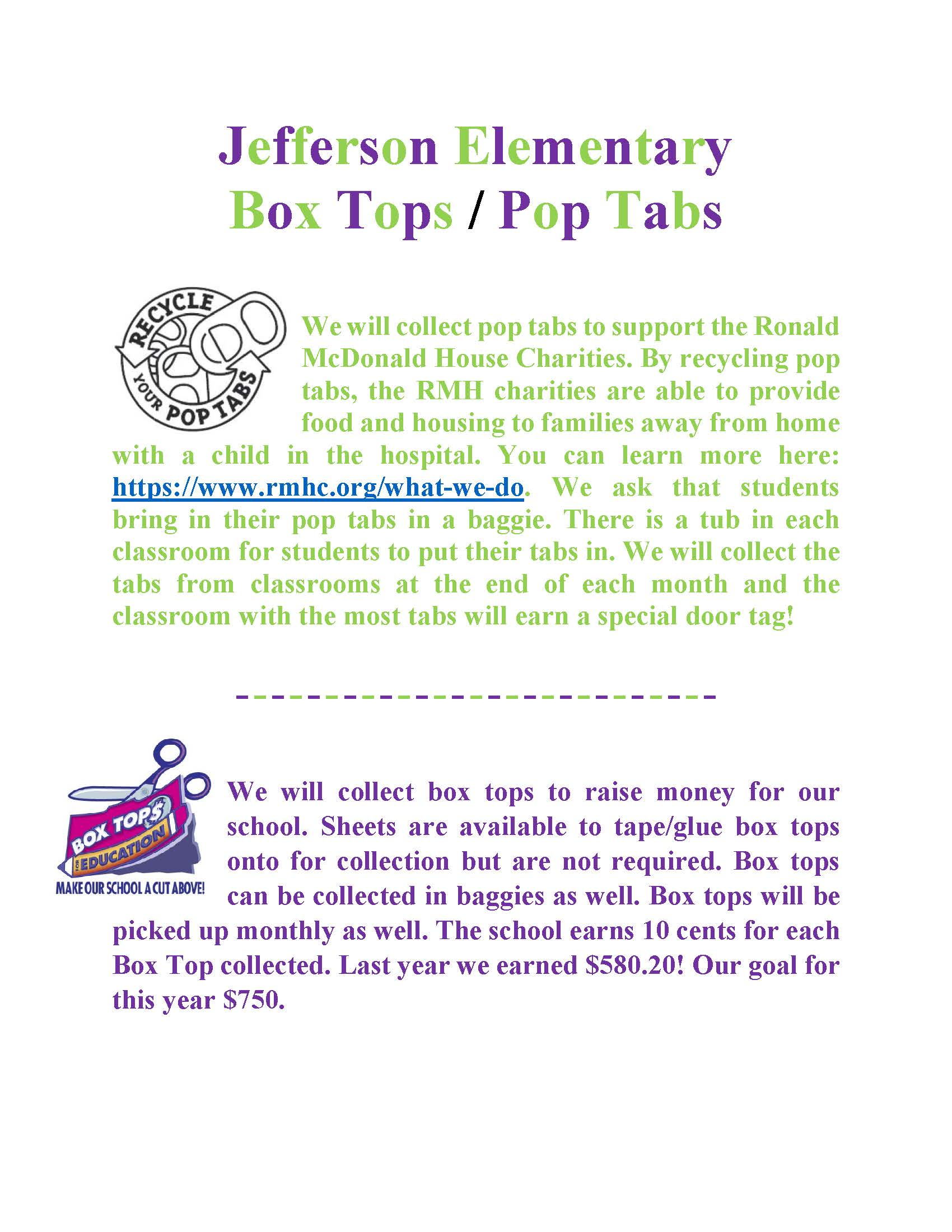 Box Tops/Pop Tabs Flyer