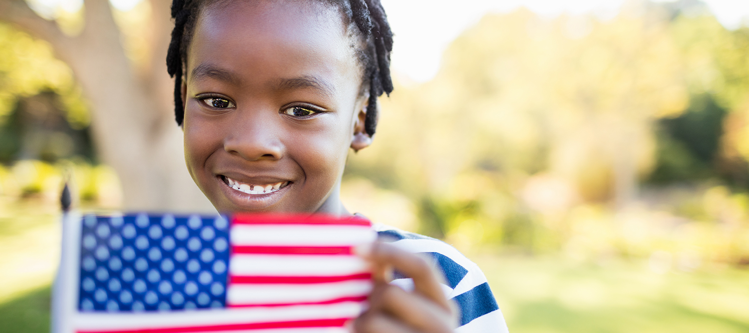 Boy with American Flag.