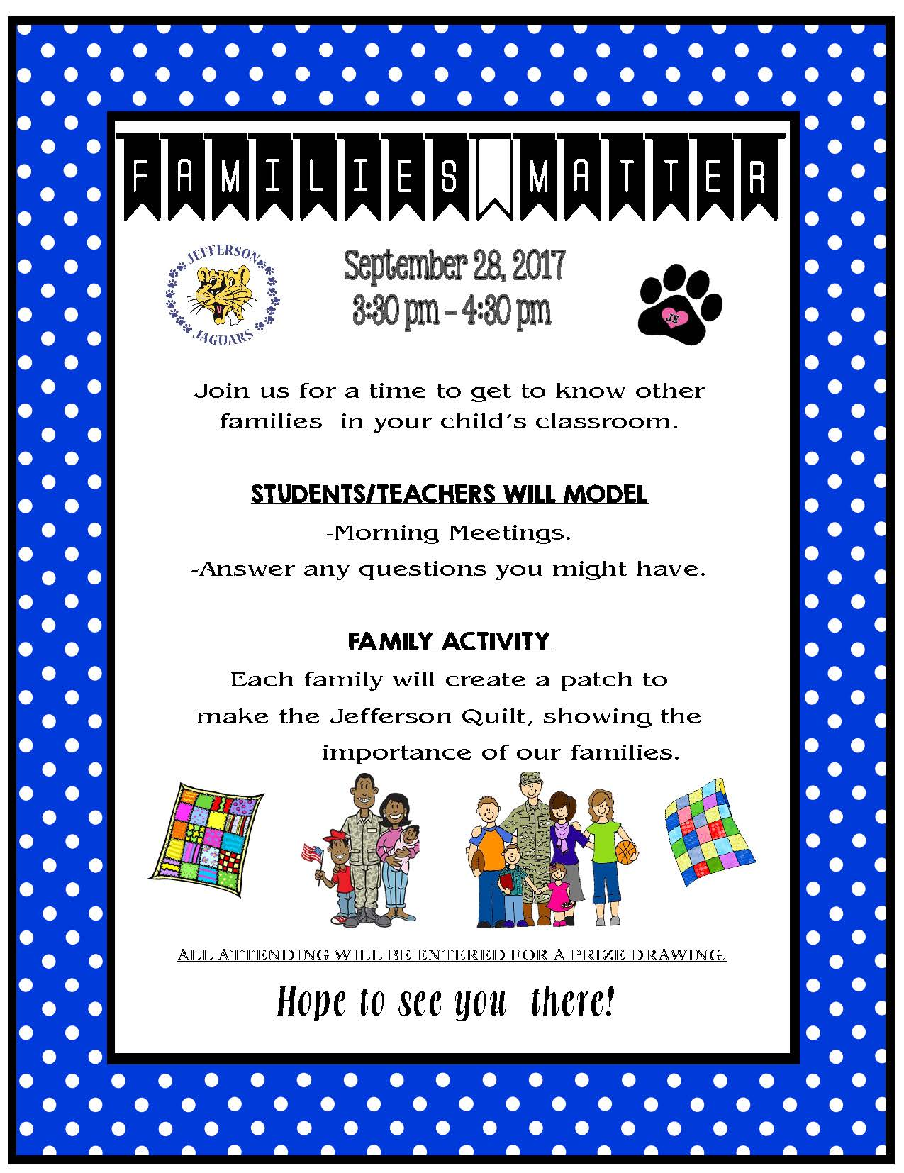 Jefferson Elementary Families Together Flyer