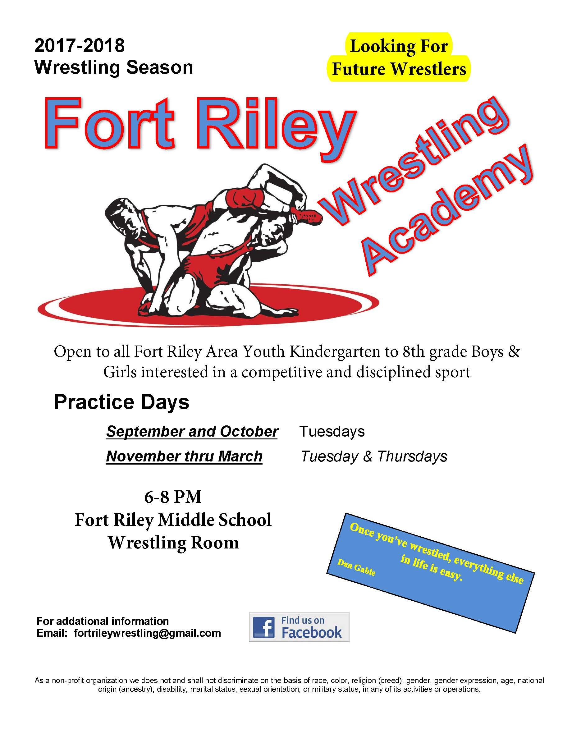 Fort Riley Wrestling Academy Flyer