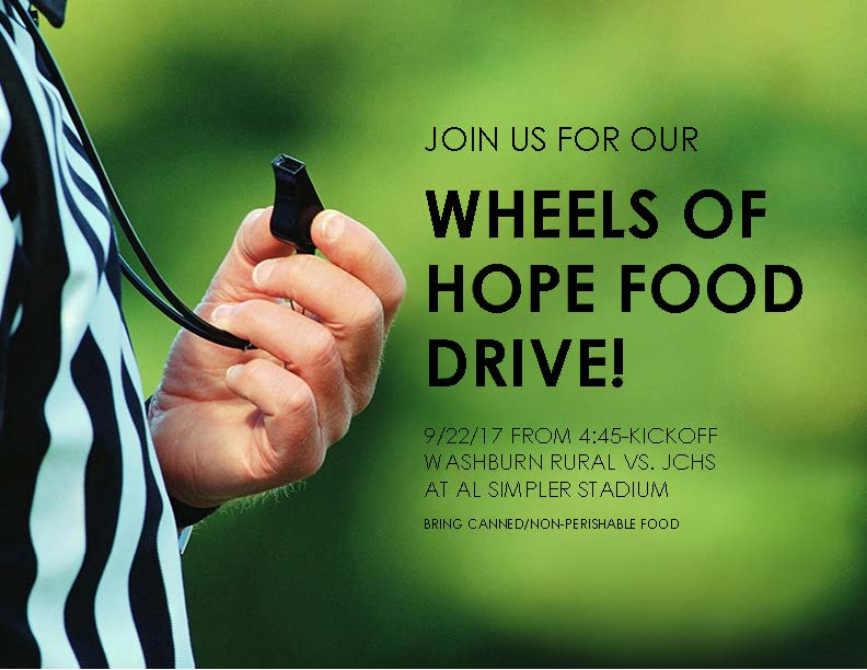 Wheels of Hope Food Drive Flyer