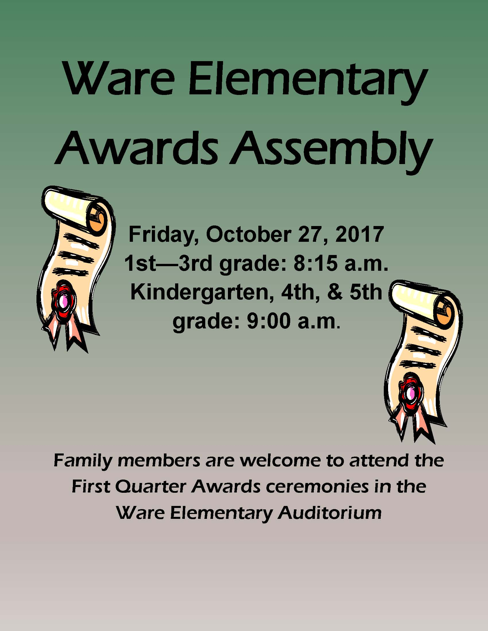 Ware Elementary Awards Assembly Flyer