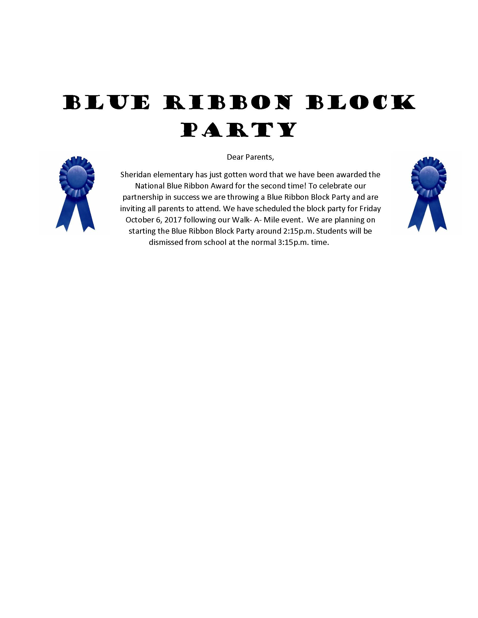 Sheridan Blue Ribbon Block Party Flyer
