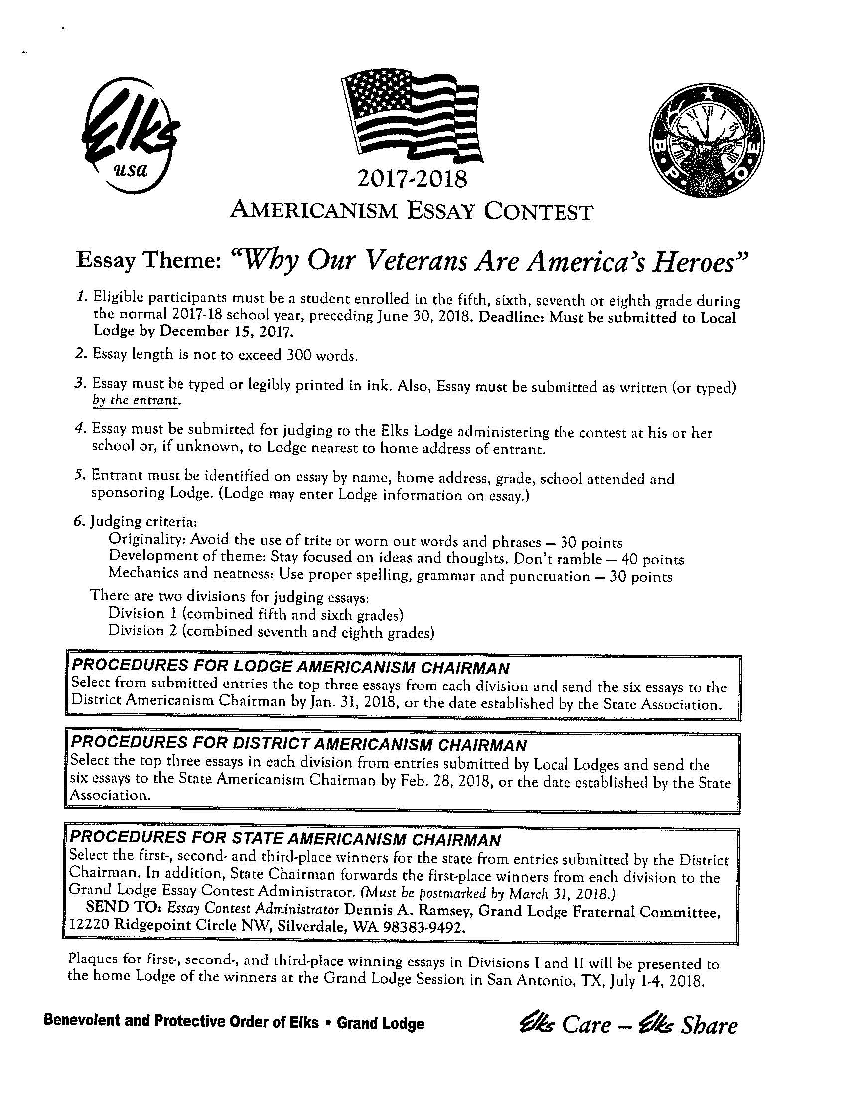 elks lodge essay contest 2011 Americanism essay contest a program of the elks' grand lodge fraternal committee, this contest is geared towards students in 5th through 8th grades to promote patriotism among young people.