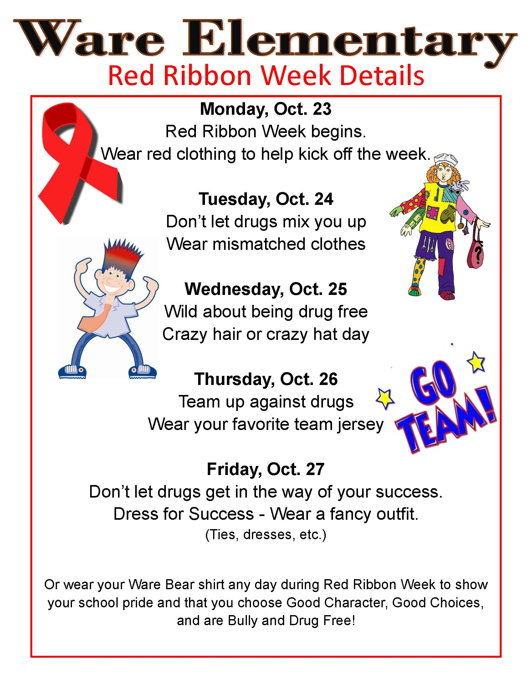 Ware Elementary Red Ribbon Week Flyer