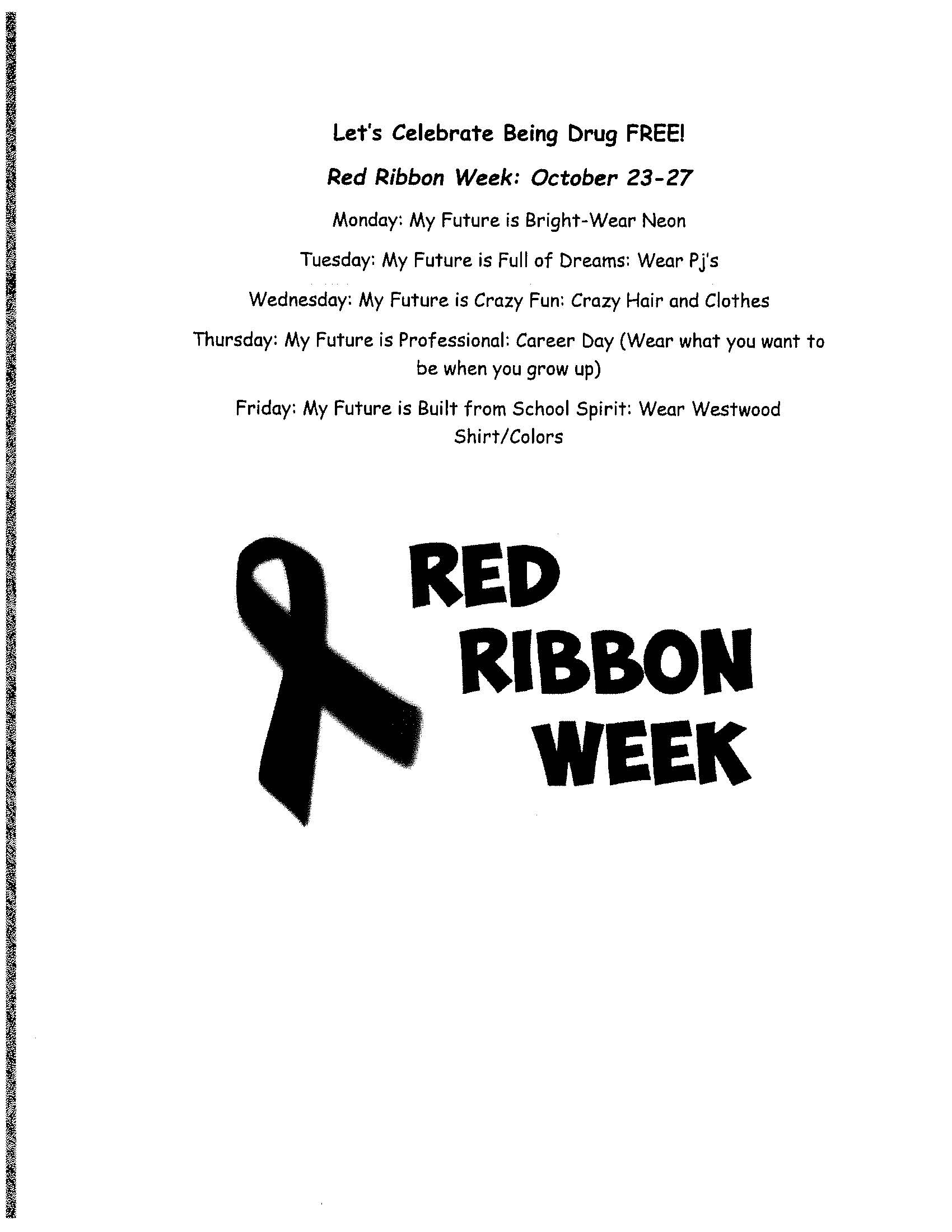 Westwood Red Ribbon Week Flyer