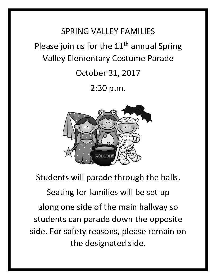 Spring Valley Costume Parade Flyer