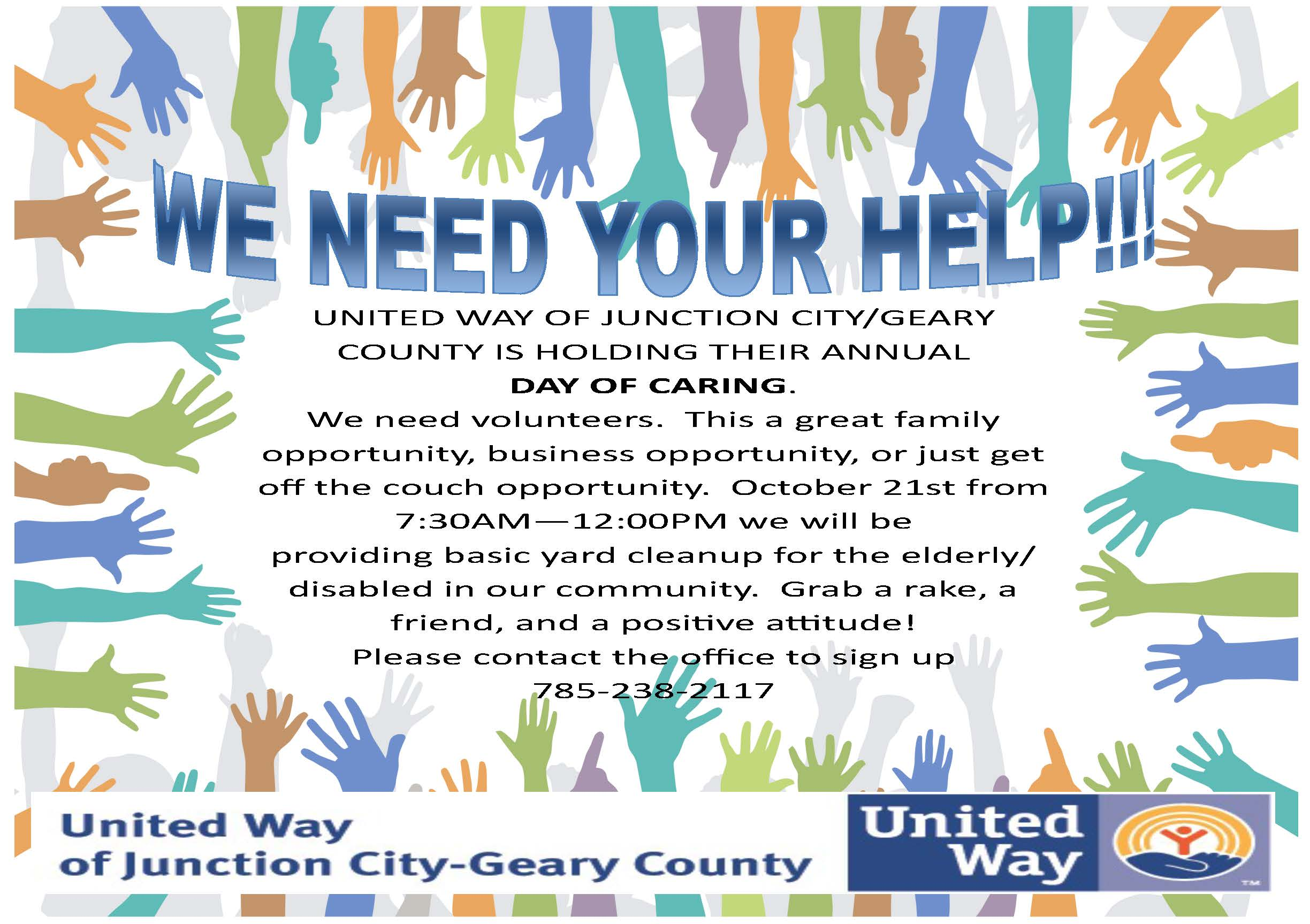 Day of Caring Volunteer Needed Flyer