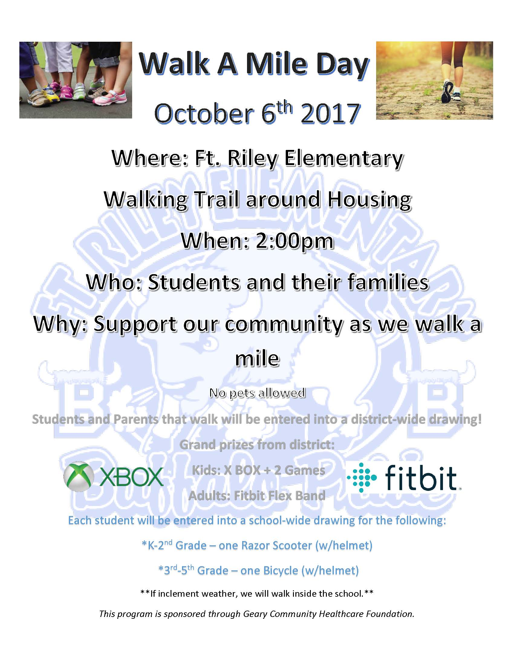 Fort Riley Elementary Walk a Mile Flyer