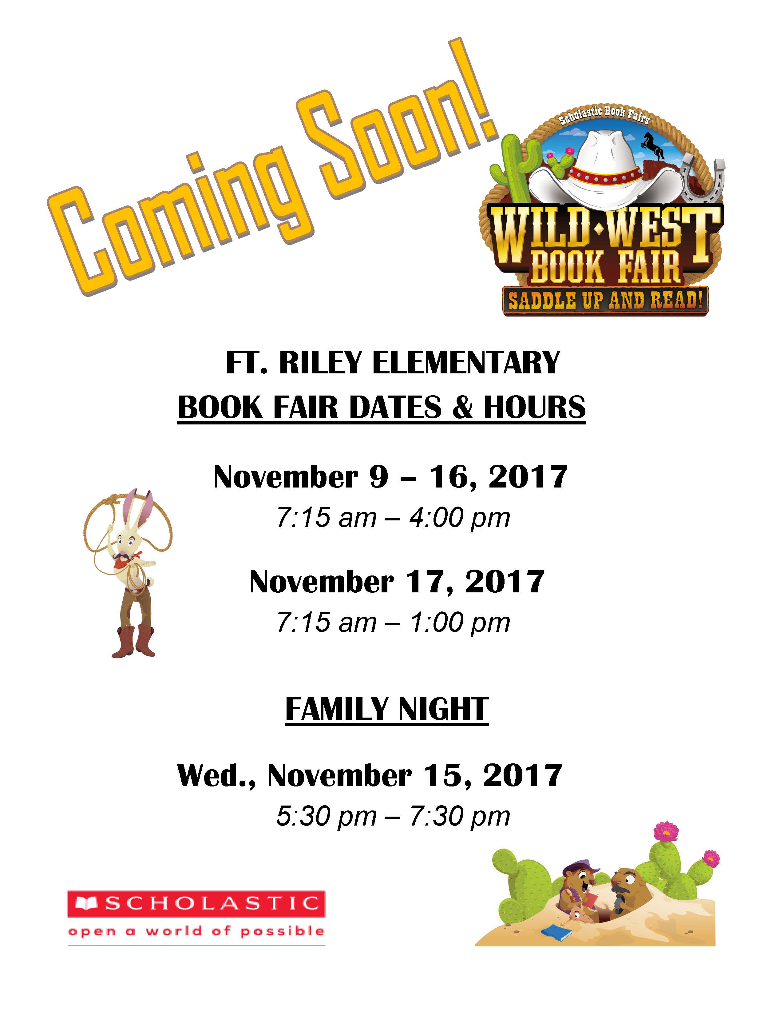 Fort Riley Elementary Book Fair Flyer