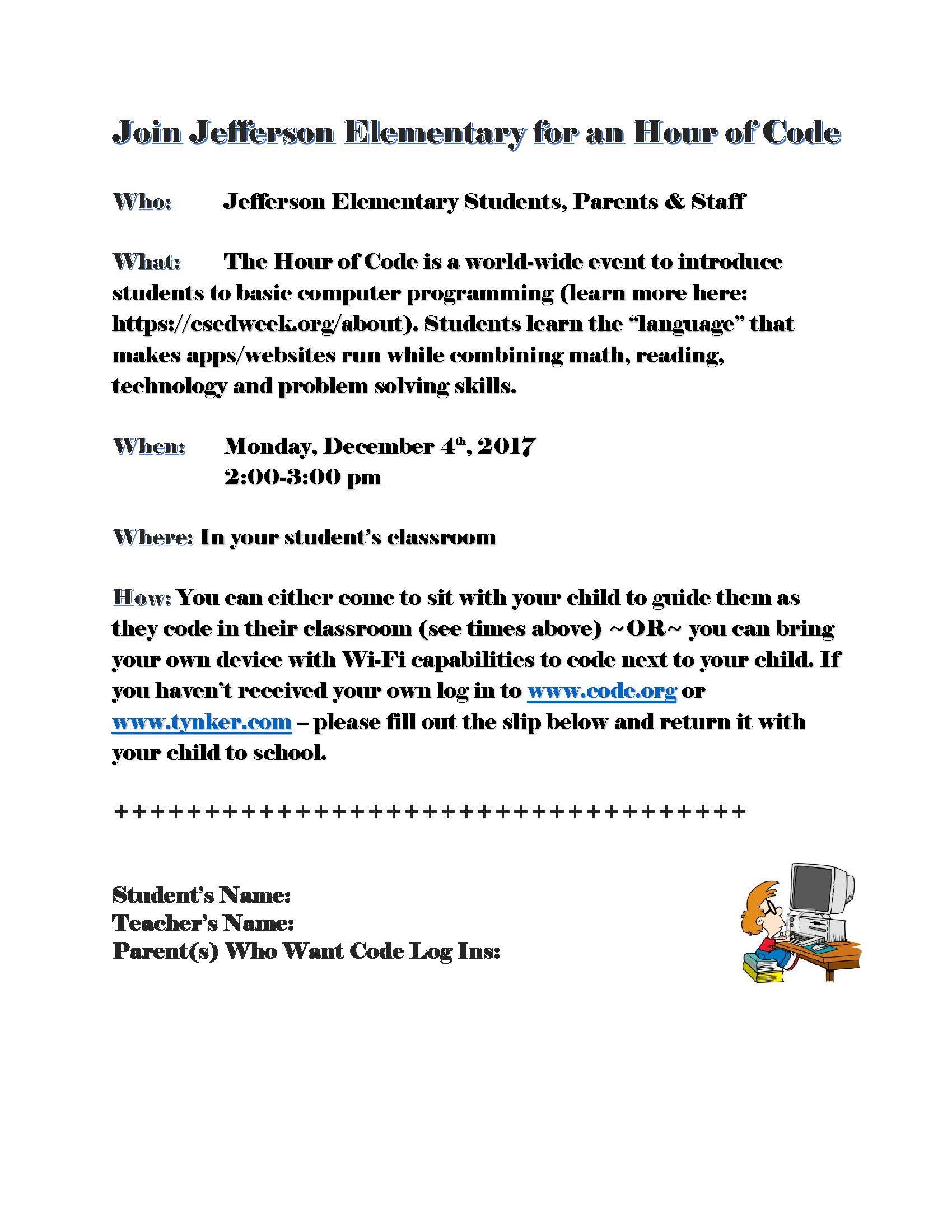 Jefferson Hour of Code Flyer