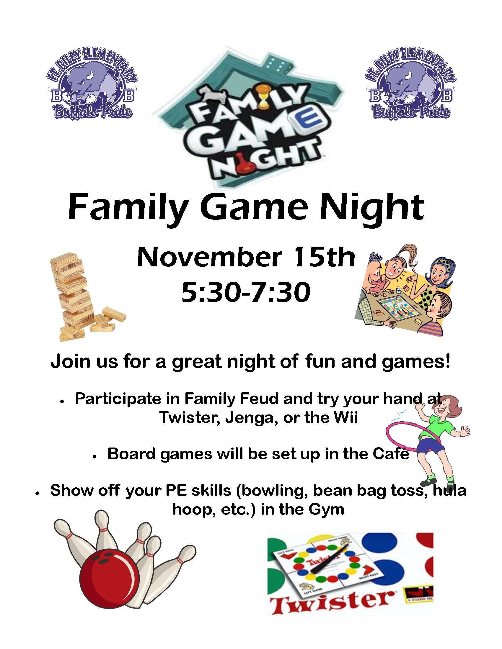 Fort Riley Elementary Family Game Night Flyer