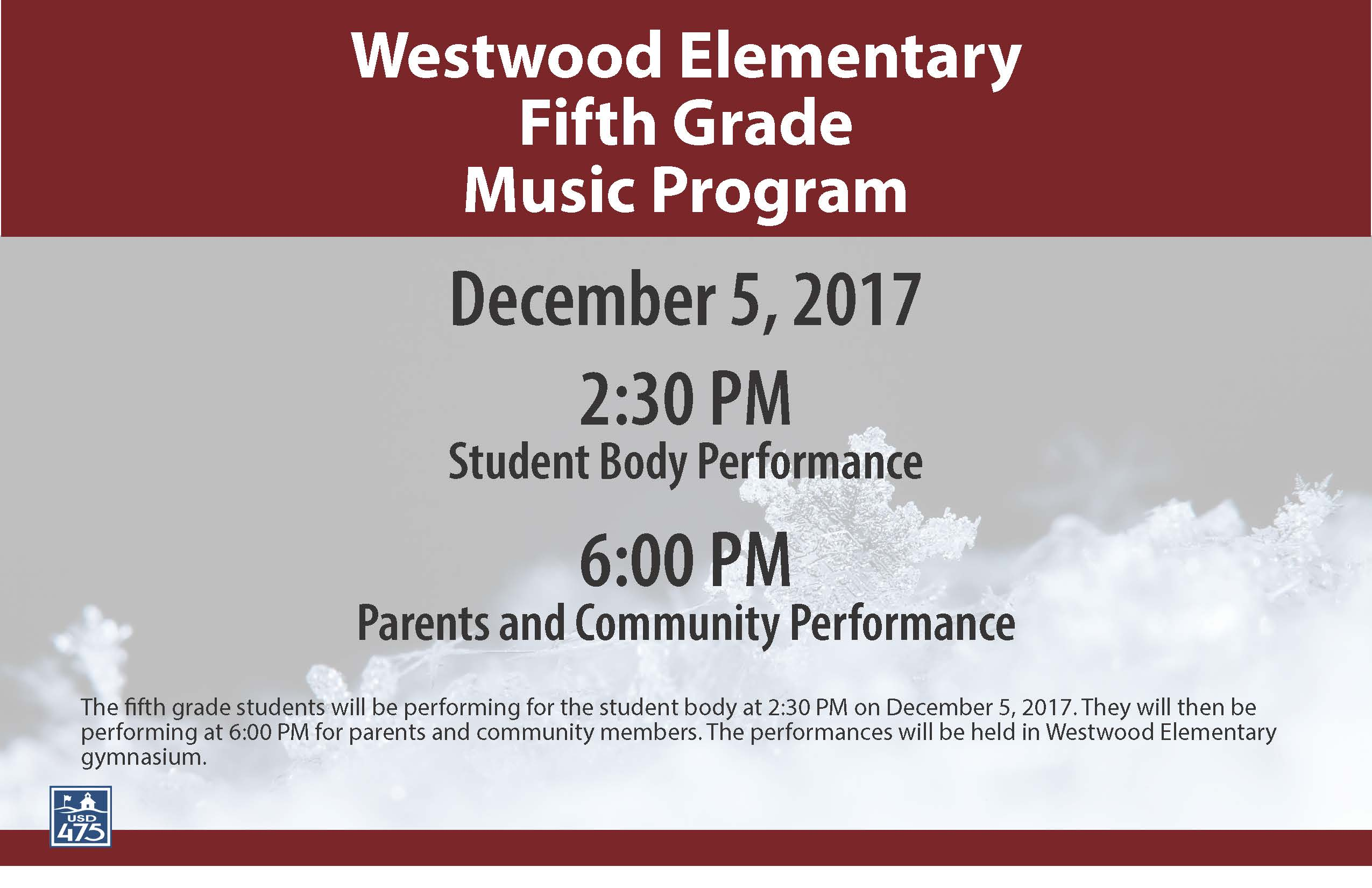 Westwood 5th Grade Music Flyer