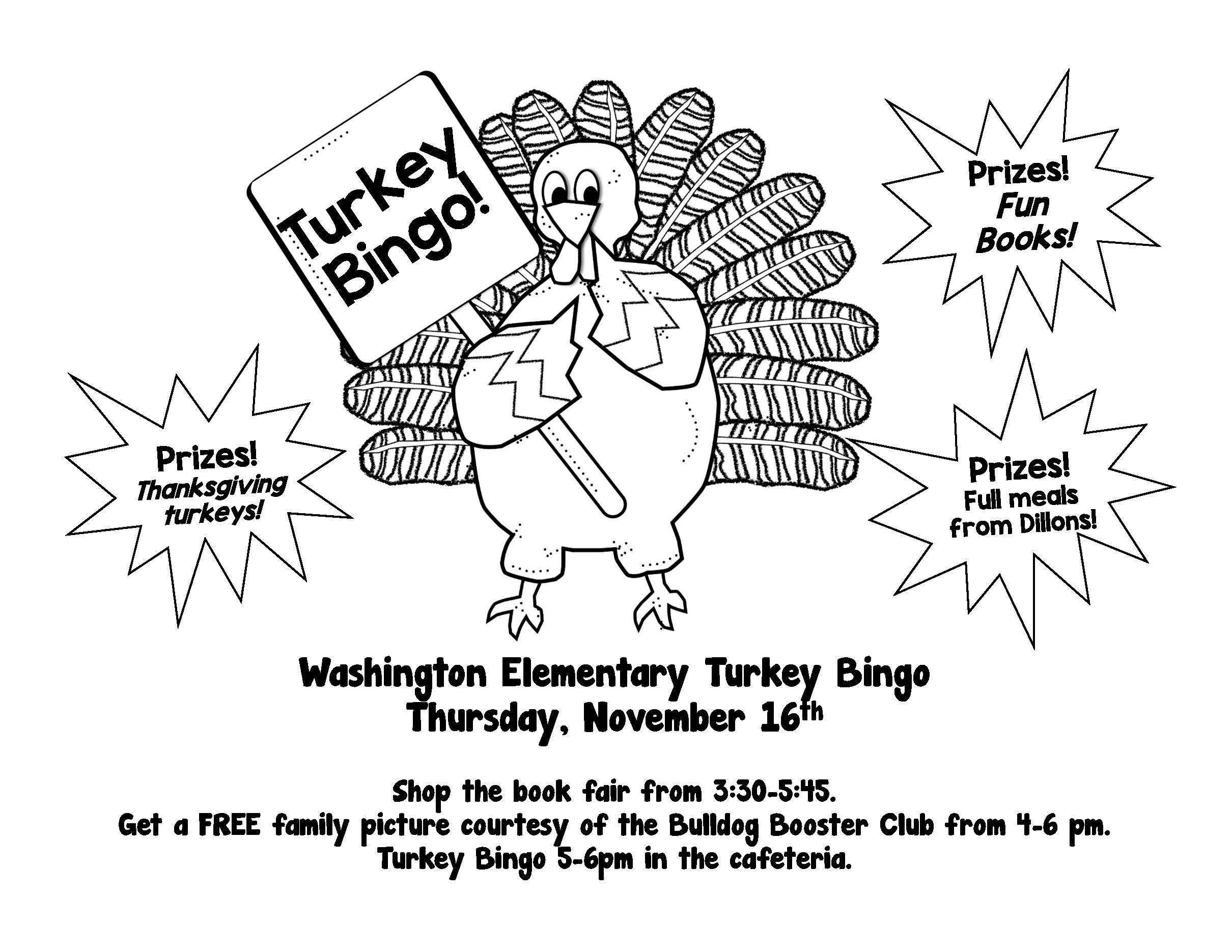 Washington Elementary Turkey Bingo