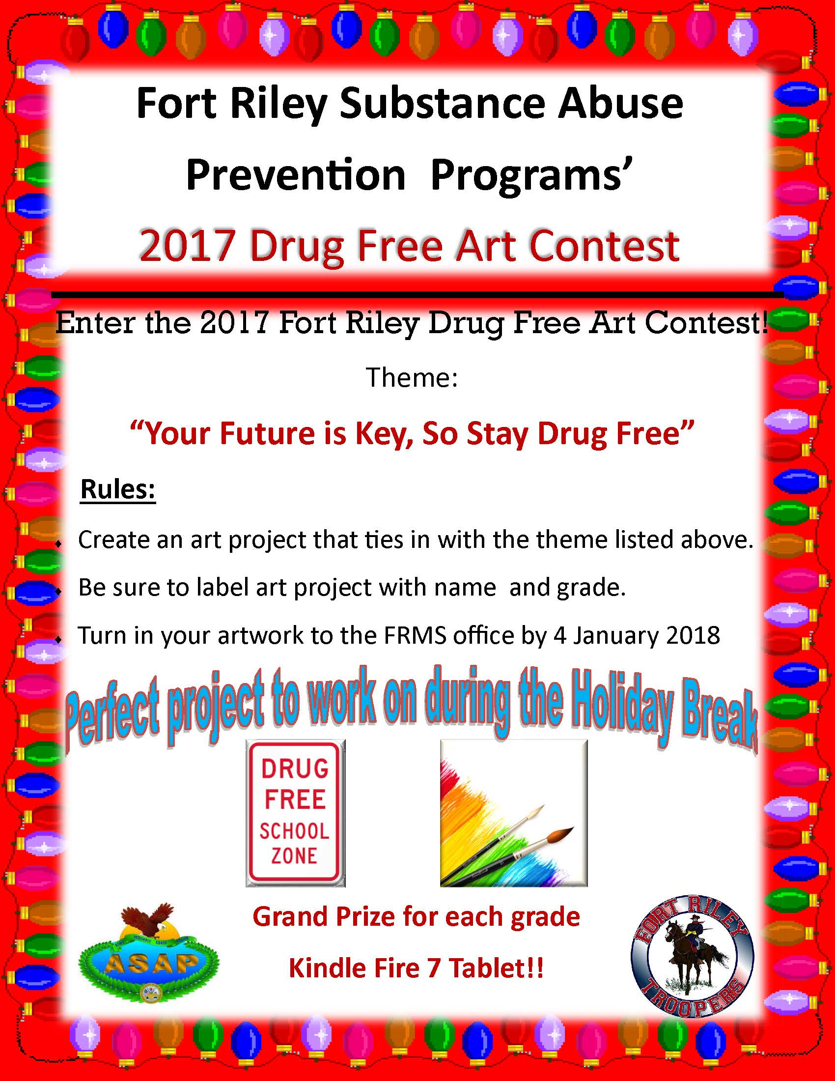 FRMS Drug Free Art Contest Flyer