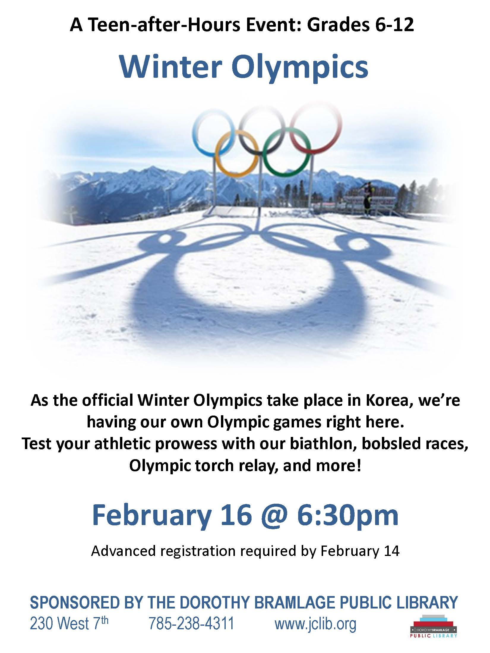 teen after hours olympics flyer