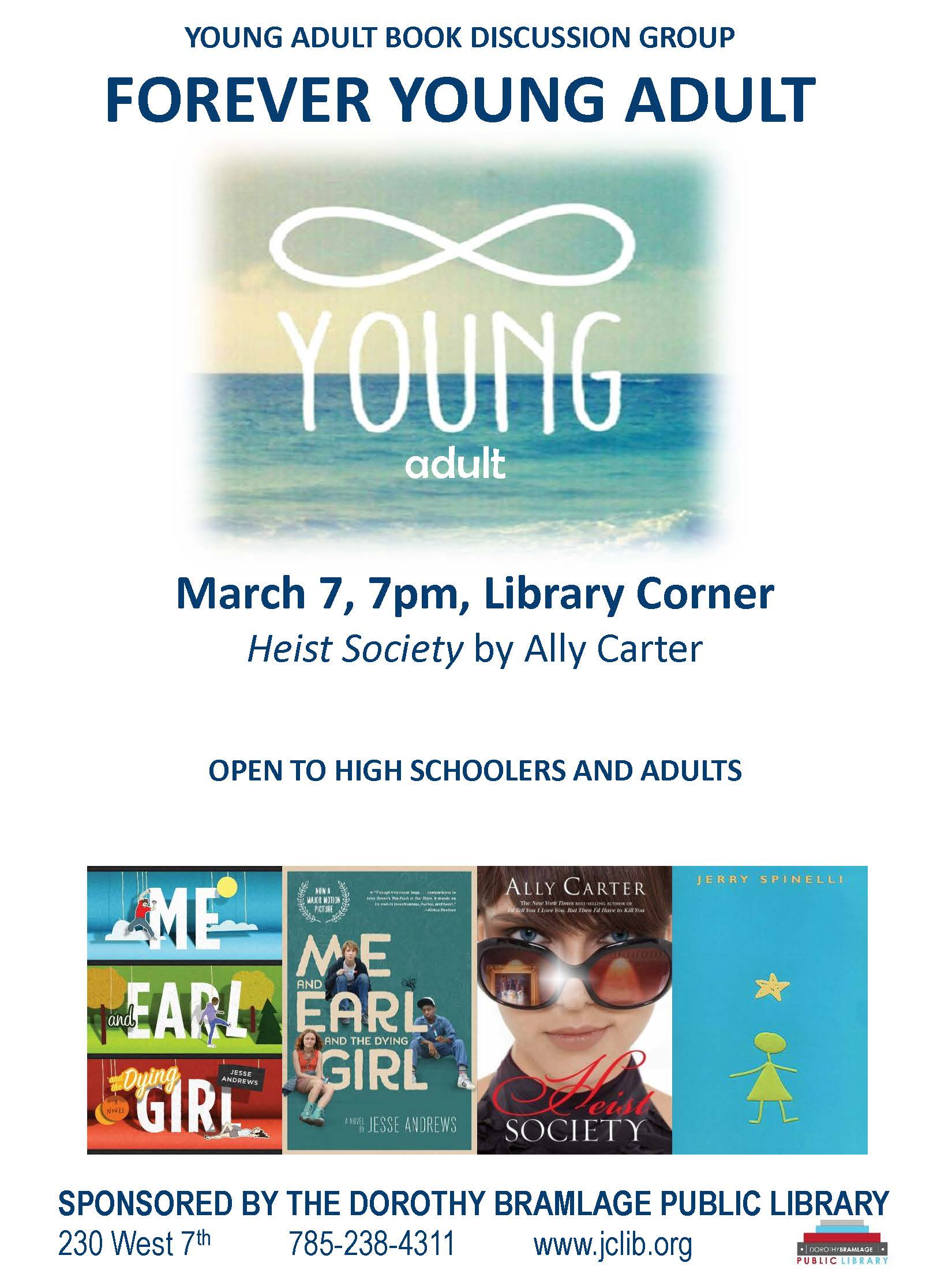 Forever Young Adult Book Discussion Group Flyer