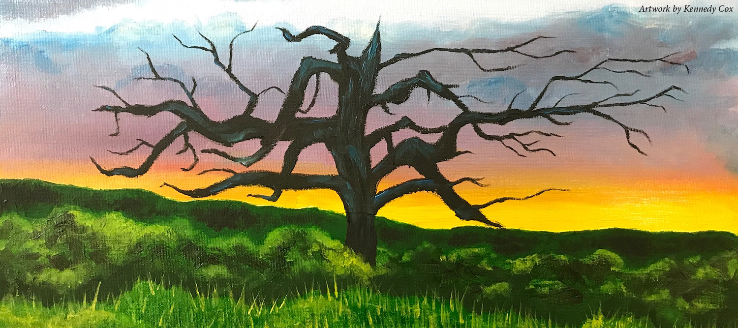 Painting of a bare tree in grass with a sunset in the background provided by kennedy Cox.
