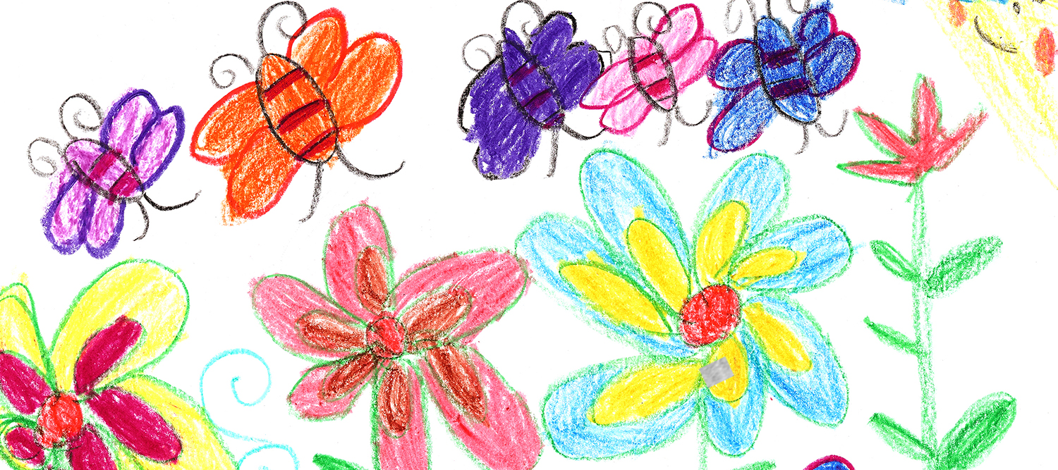 Kids Crayon Art of Flowers and Butterflies