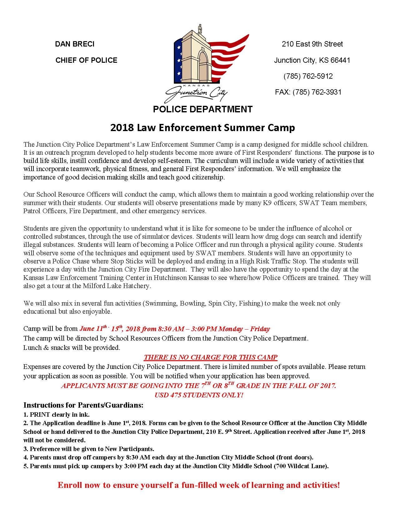 Summer Law Enforcement Camp Page 1