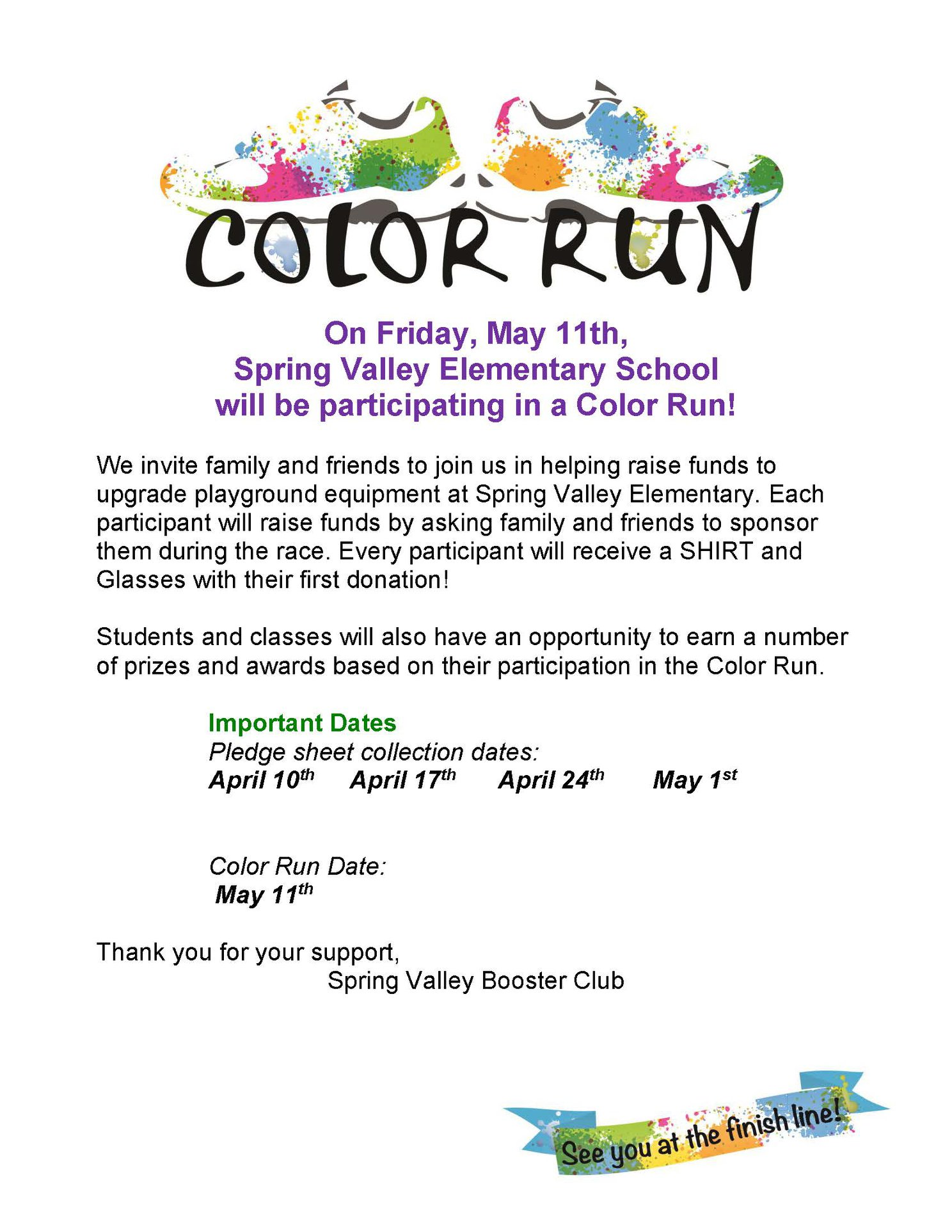 spring valley color run fundraiser eflyers