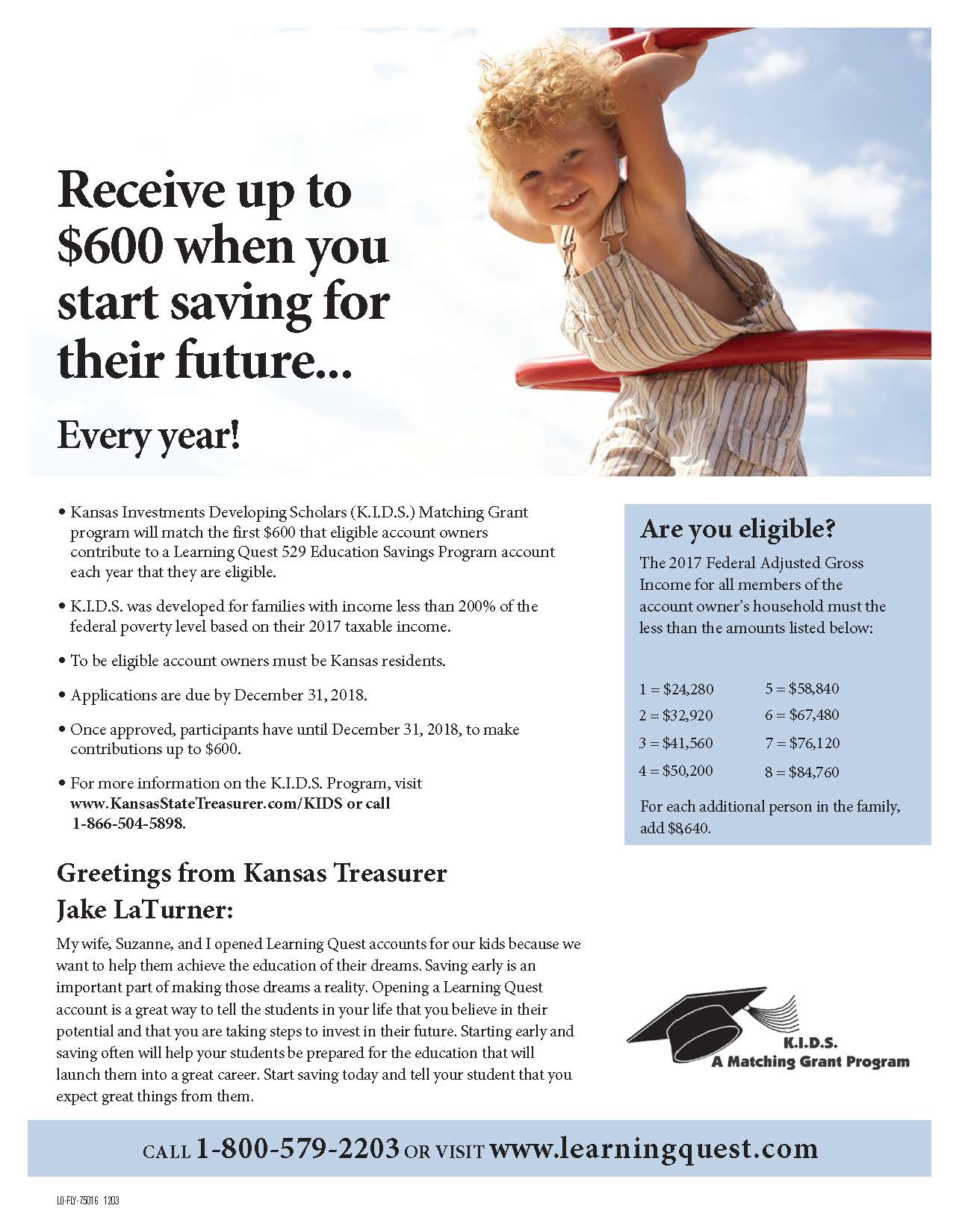 KIDS Matching Grant Program Flyer
