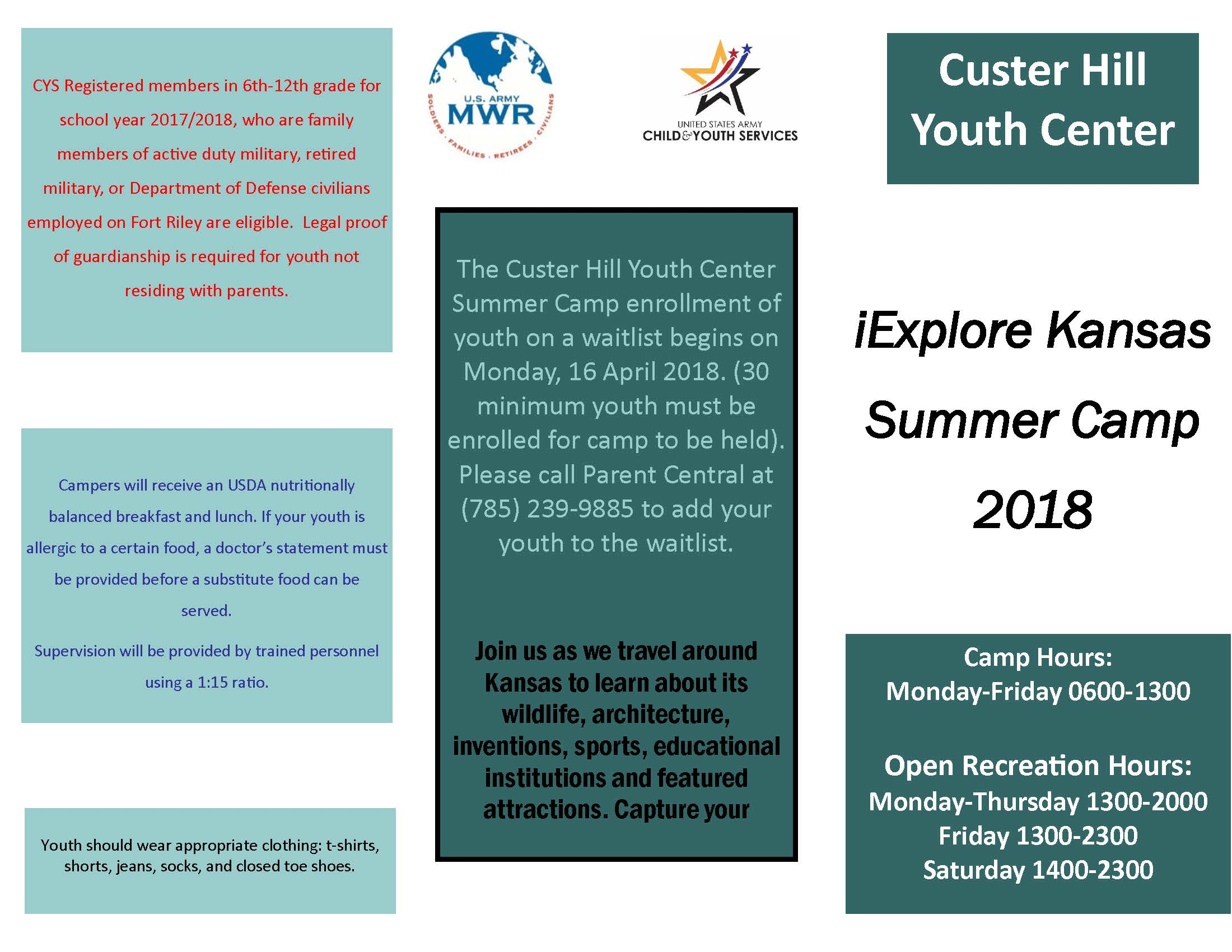 Custer Hill Summer Camp Brochure Page 1