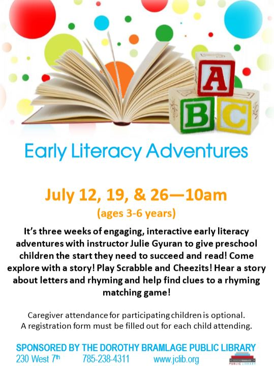 Flyer for Early Literacy Adventures.