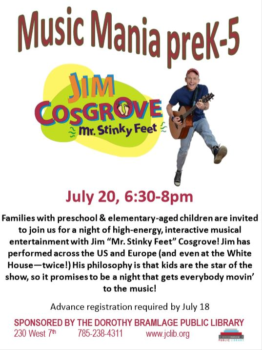 Flyer for Music Mania- Mr. Stinky Feet (Jim Cosgrove)