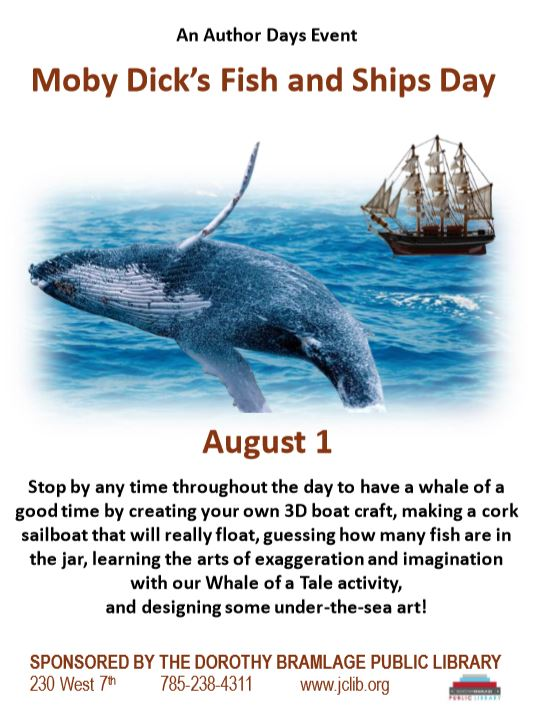 Flyer for Moby Dick's Fish and Ships Day with a whale jumping in the ocean in front of a ship.