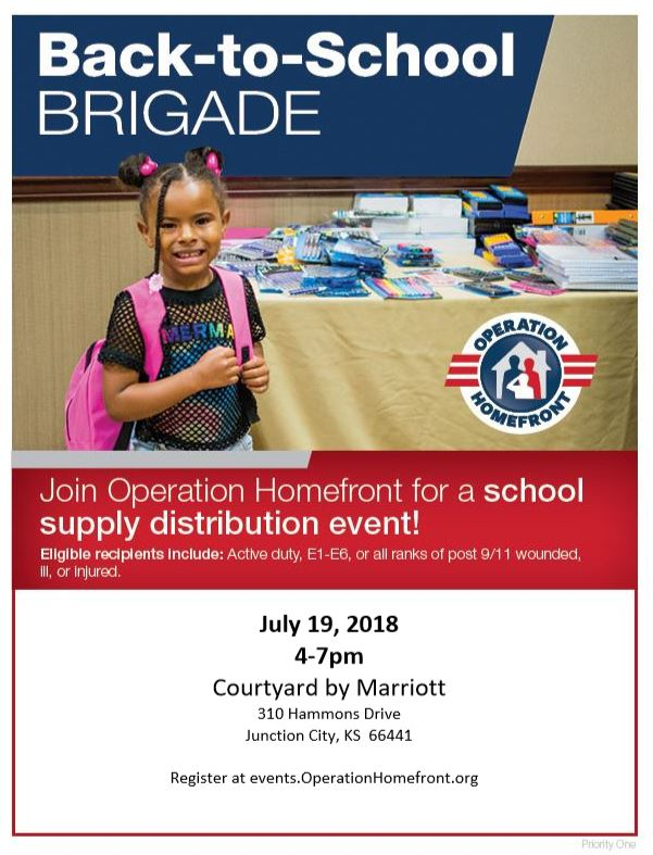 Flyer for the back to school brigade with girl standing in front of school supplies and text about the event at the bottom.