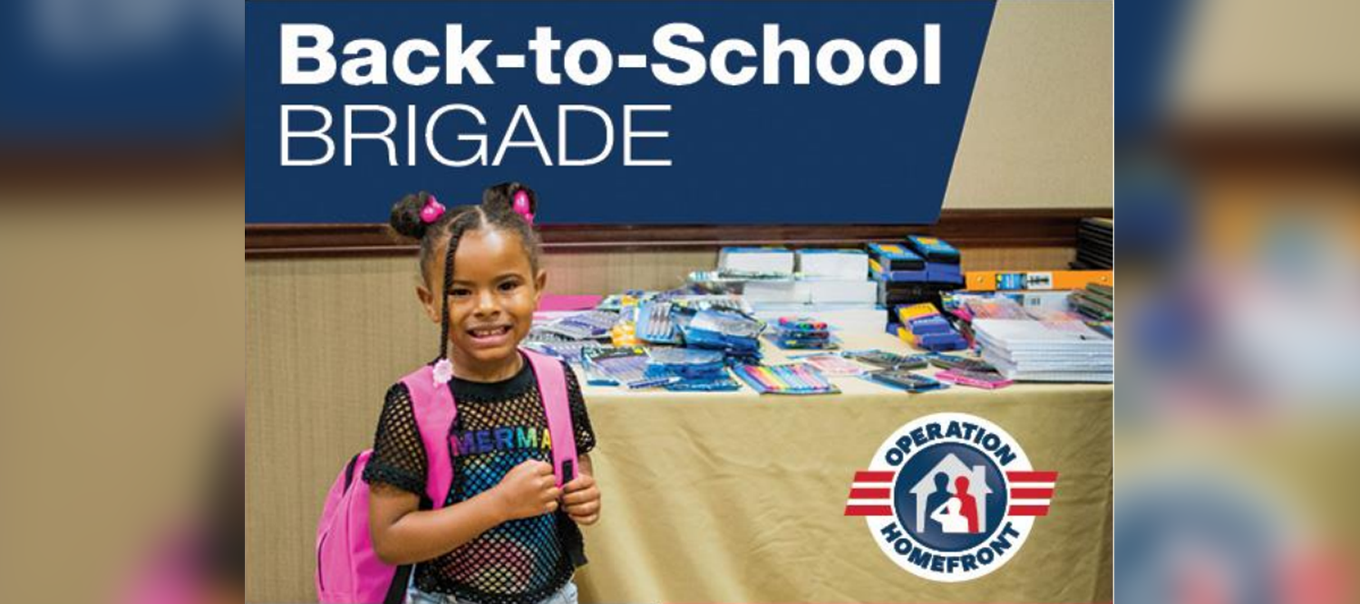 Back to School Brigade flyer with girl standing in front of books and school supplies.