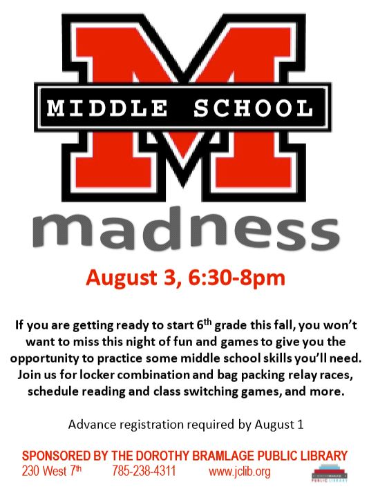 """Flyer for Middle School Madness with a big, block letter, red """"M""""."""