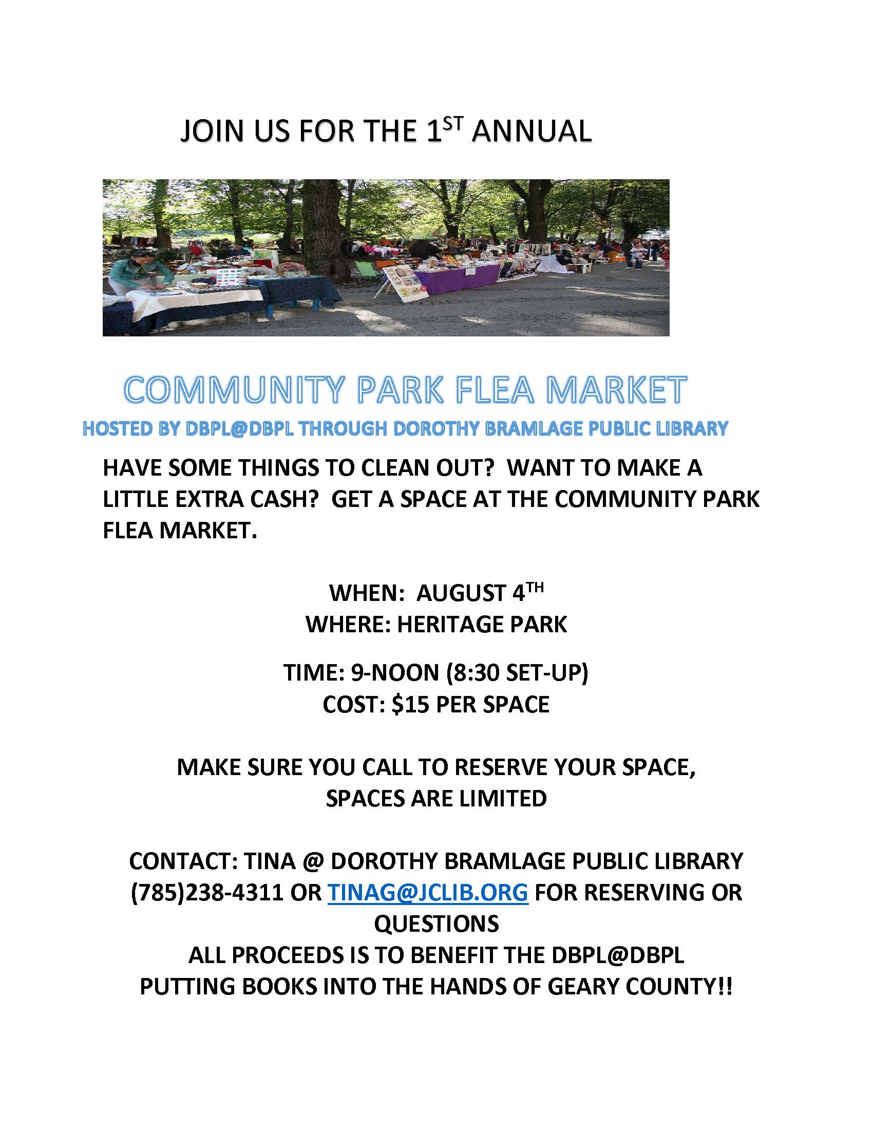 Flyer for the Community Flea Market