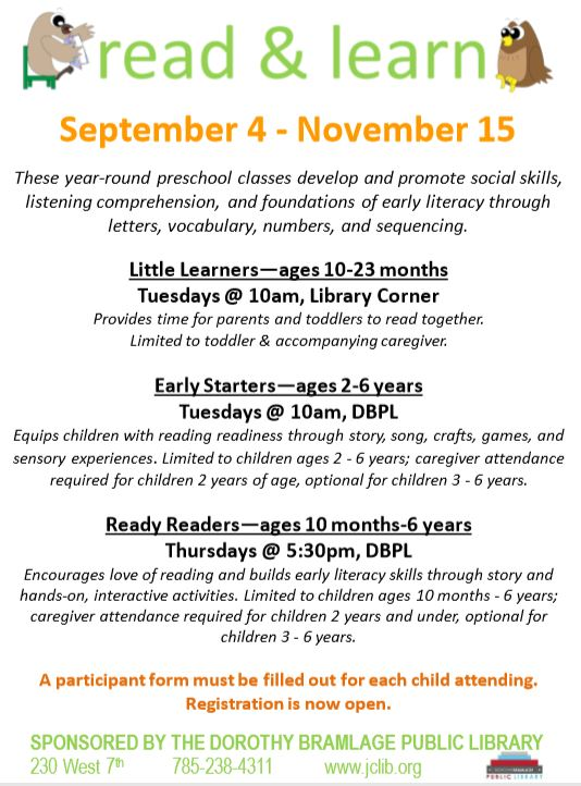 Flyer for Read and Learn Program including information listed above.