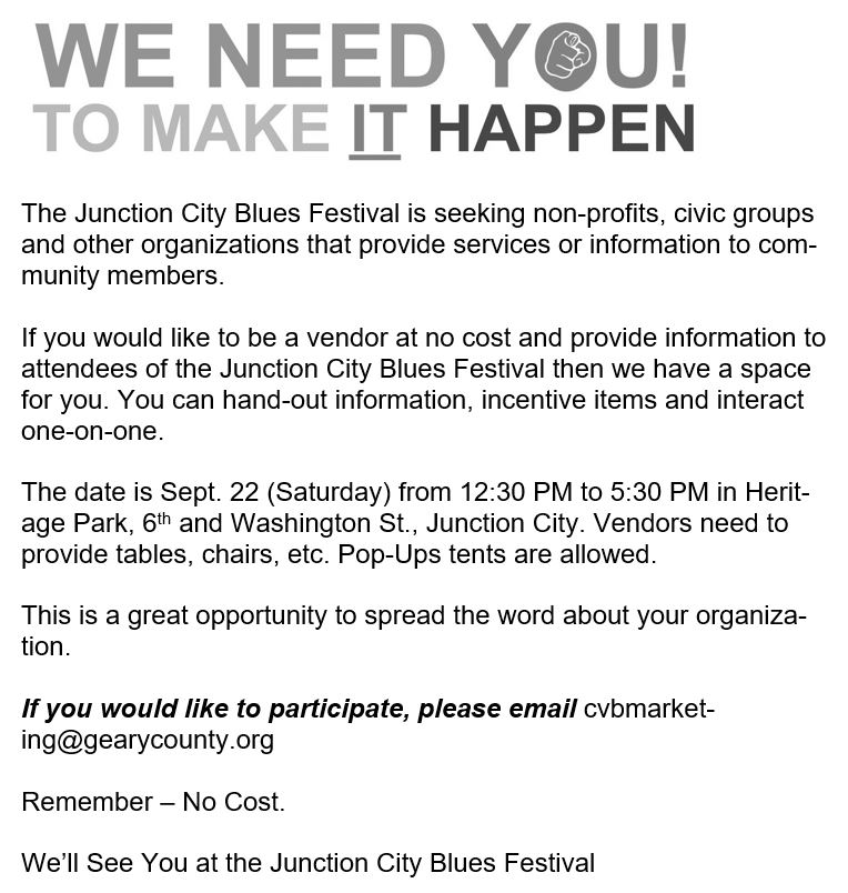 Flyer for JC Blues Music Festival Vendor Sign Up. All information is above.