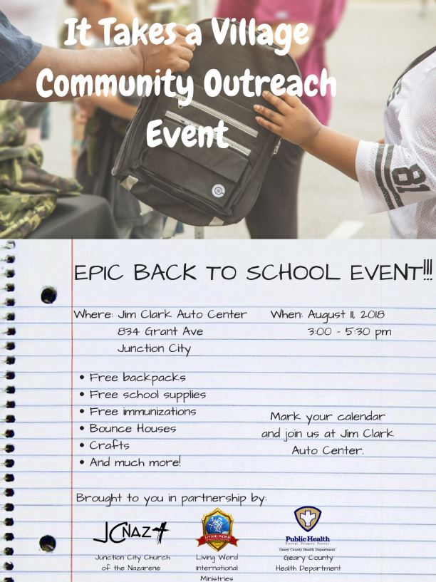 Flyer for JC Church of the Nazarene Back to School Event.