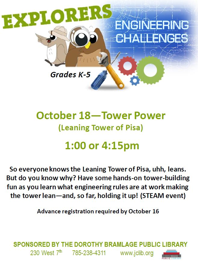 Flyer for the Explorers Engineering Challenge. All information is listed above.