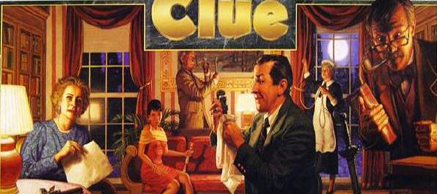 Photo of clue characters investigating a house.