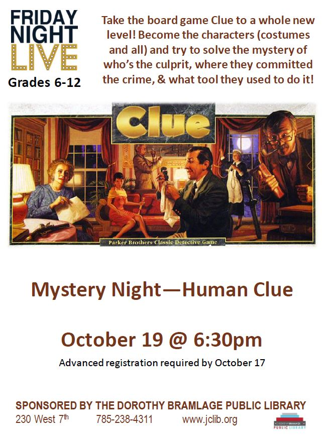 Flyer to Friday Night Live Mystery Night. All information is above.