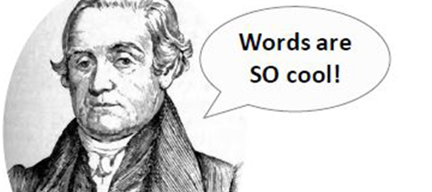 "photo of Noah Webster with speech bubble ""words are cool"""
