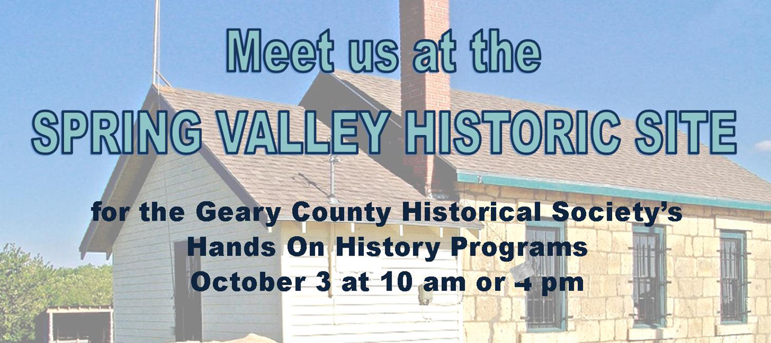"Photo of historic house with text that reads ""meet us at the Spring Valley Historic Site"""