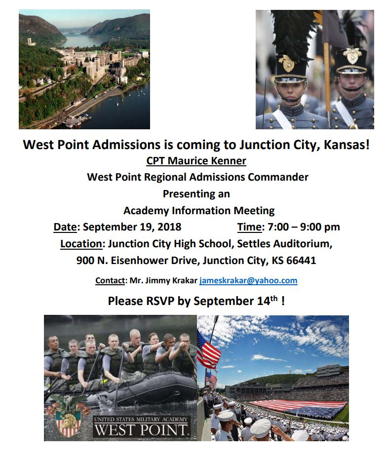 Flyer for West Point Admissions Information Meeting. All information is included above.