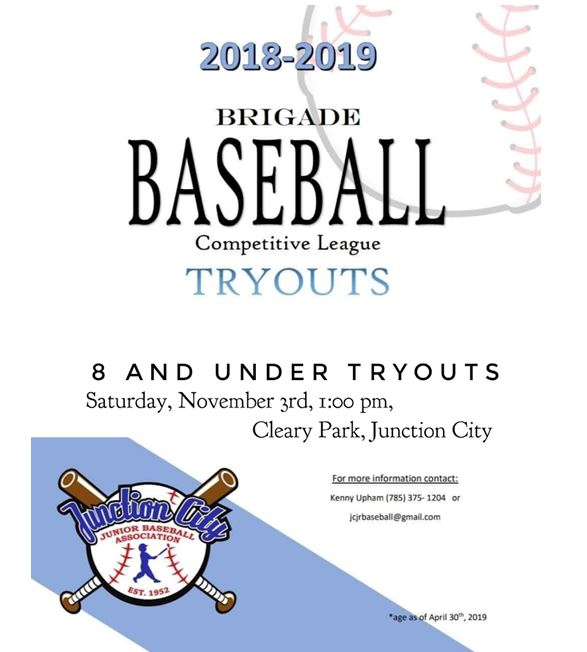 Baseball tryout flyer. All information is above.