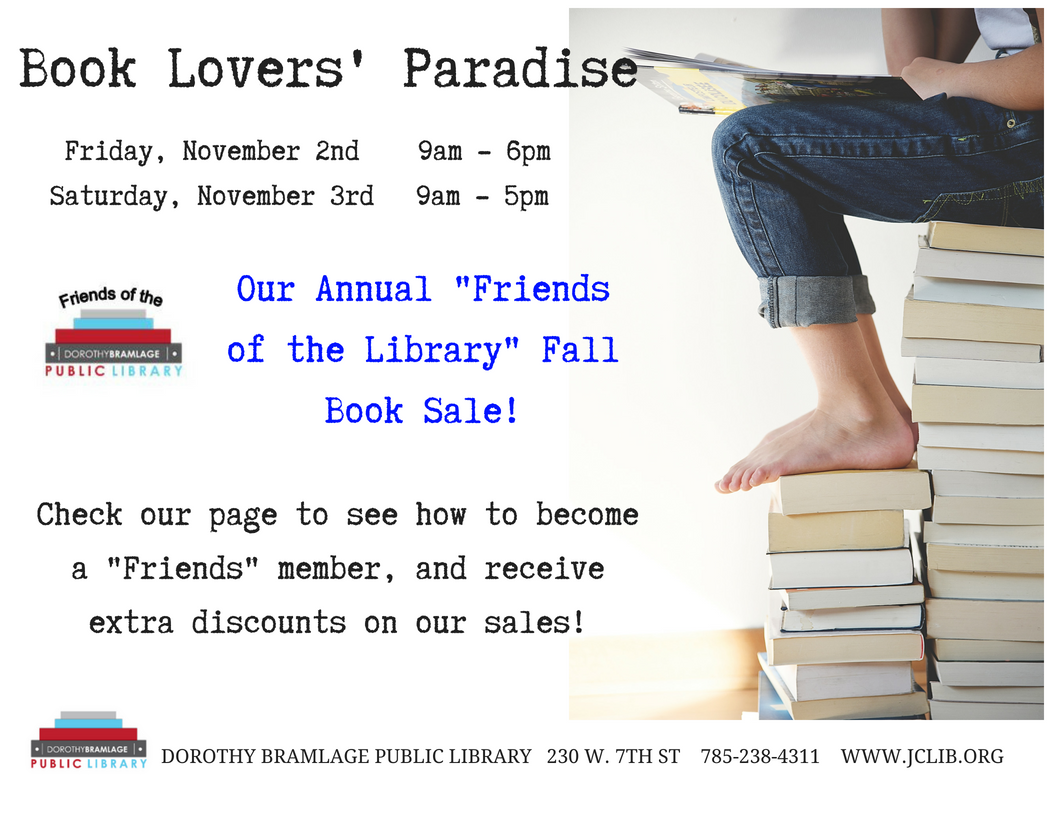 Flyer for Book Sale. All information is above.
