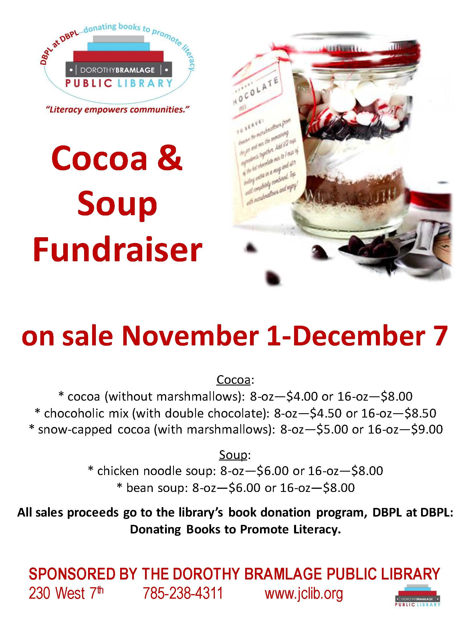 Flyer for Cocoa & Soup Fundraiser. All information is above.